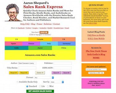 Aaron Shepard's Sales Rank Express for Tracking Book Sales Rank