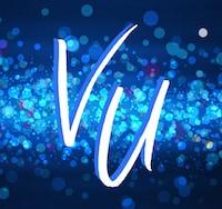 Valerie Ullmer logo consisting of intials V.U. over a sparkly blue background