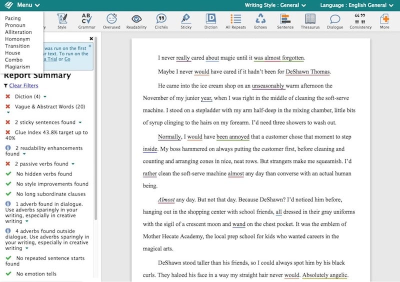 screenshot of ProWriting Aid app in use