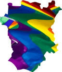 Chechnya map with rainbow flag